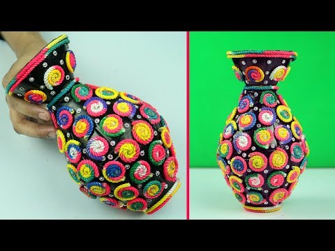 Unique Flower Vase with Plastic Bottle and Rope for Home Decor | Plastic Bottle Craft Tutorial