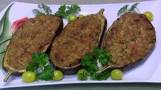 Bakłażany faszerowane mięsem i zapiekane
