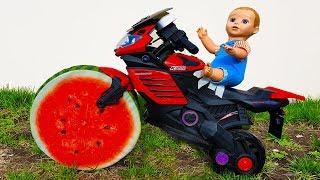 Funny Baby doll & Watermelon Wheel SportBike Ride on POWER WHEEL BMW cars