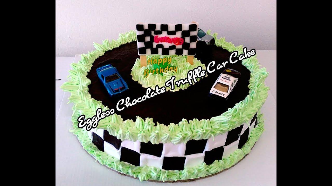 Learn How To Decorate Eggless Truffle Car Cake Youtube