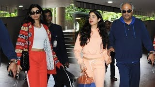 Sridevi's Gorgeous Daughter Jhanvi Kapoor Ignores Sister Khushi Kapoor At Airport