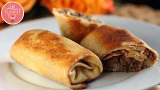 Pancakes with Mushrooms & Meat Filling | Блинчики с мясом и грибами