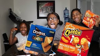 Taste Testing MAC AND CHEETOS | DORITOS LOADED