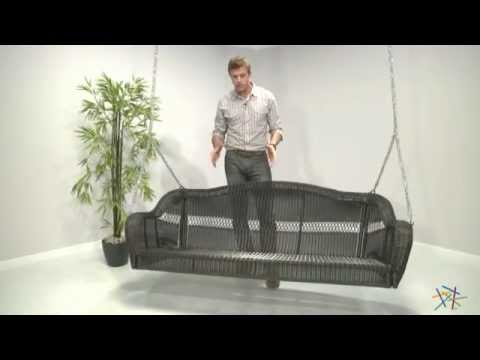 casco bay 3 seater wicker porch swing espresso product review video - Wicker Porch Swing
