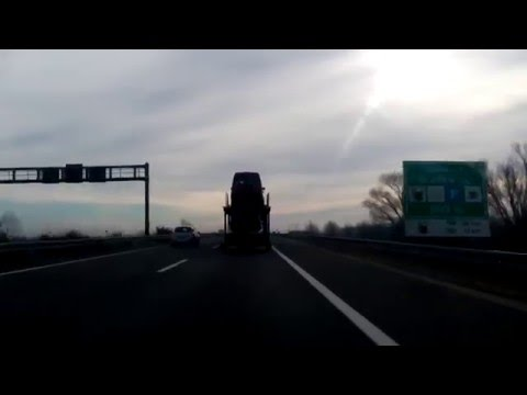 Zagreb Highway:Passing auto transporter truck 1