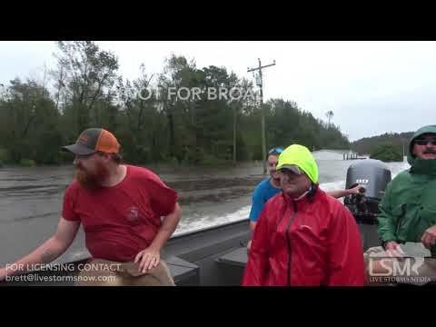 9-16-2018 Chinquapin, NC Historic Flooding whole town under water, water to the roof drone plus boat
