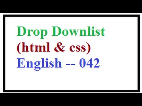 How to Create Drop Downlist in HTML select and Option Elements in HTML -- English 042