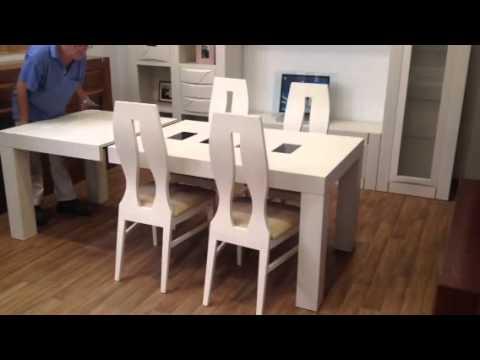 Mesa de sal n extensible en roble youtube - Mesa salon roble ...