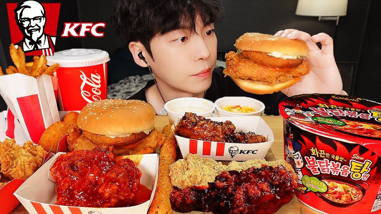 ASMR MUKBANG | 치즈 불닭볶음탕면 & KFC 양념치킨 햄버거 치즈스틱 치즈볼 먹방 FRIED CHICKEN AND FIRE NOODLES EATING