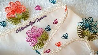 Krem çiçekli yazmaya çok kolay ve gösteri çok güzel iğne oyası modeli