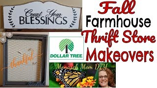 FALL FARMHOUSE THRIFT STORE MAKEOVER DIY #dollartreedecor #falldecor #farmhouse