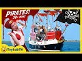 SWORD BATTLE w/ PIRATES! Real Life Pirate Ship, Treasure Hunt for Toys, GIANT Shark Toy Surprise Egg