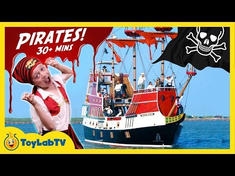 Thumbnail: SWORD BATTLE w/ PIRATES! Real Life Pirate Ship, Treasure Hunt for Toys, GIANT Shark Toy Surprise Egg
