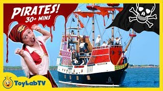 Download Video Pirate Ship Adventure! LB Faces Off with Pirates, Treasure Hunt for Toys & Giant Shark Surprise Egg MP3 3GP MP4