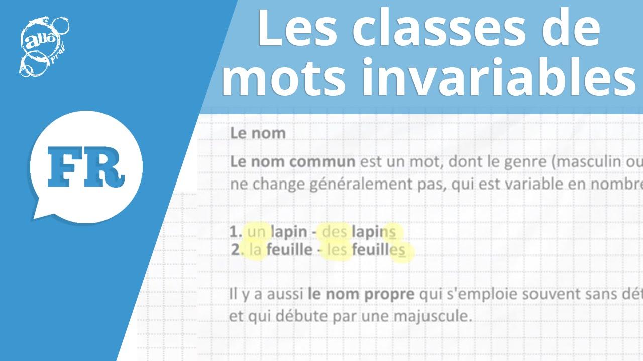 Allo Prof Les Classes De Mots Invariables Youtube