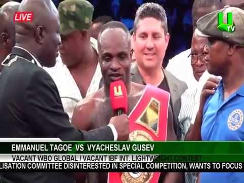 Asamoah Gyan Fight Night 2: Emmanuel Gameboy Tagoe beats Vyacheslav Gusev