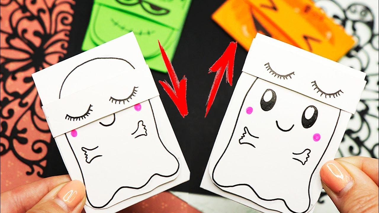 3 DIY Блокнотик меняющий лицо Из 1 листа бумаги! Поделки на Хэллоуин