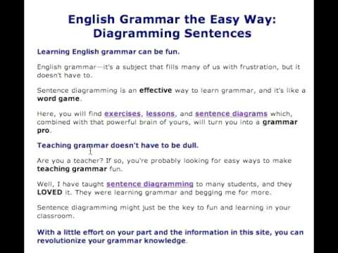 Learn english grammar the easy way diagramming sentences youtube learn english grammar the easy way diagramming sentences ccuart Images