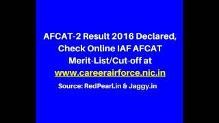 AFCAT-2 Result 2016 Declared | Check Online IAF AFCAT Merit-List/Cut-off | Jaggy