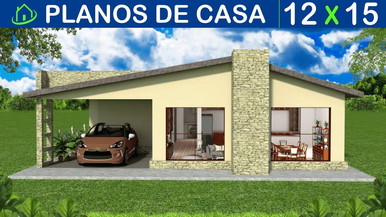 🔴 PLANOS DE CASA sencilla 1 PISO 3 Dormitorios Garaje ...