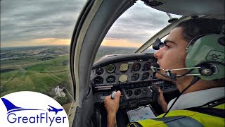 Piper PA-28 Cherokee | Sunset Approach & Landing at Shoreham | IFR Flight Training Cockpit View