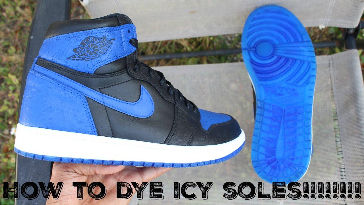 fe73a16ae How to dye icy soles on jordan 1 laser royal custom FULL TUTORIAL ...