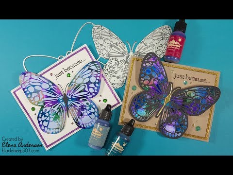 Die Cut & Alcohol Inked Butterfly Card with Elizabeth Craft Designs
