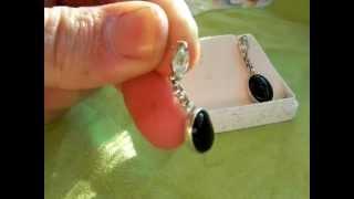 orecchini in argento925 -acquamarina  e onice