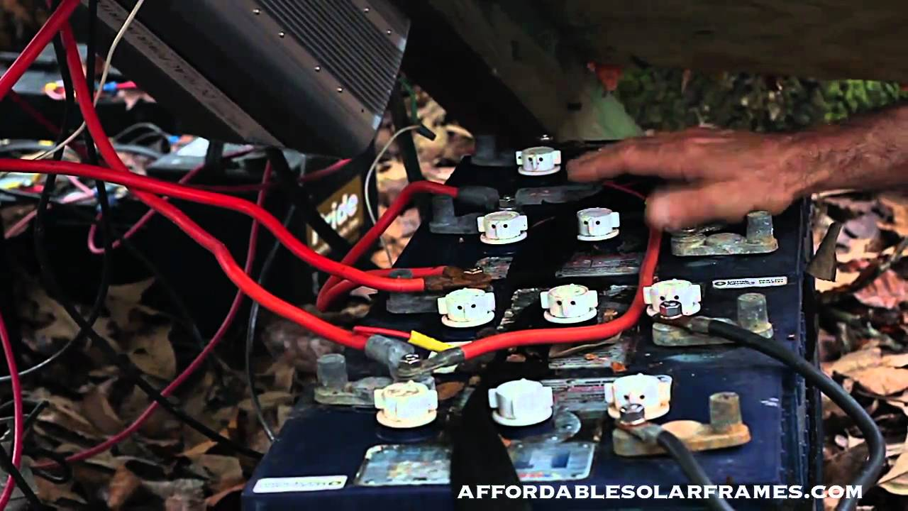 how to connect solar panels to battery bank  charge