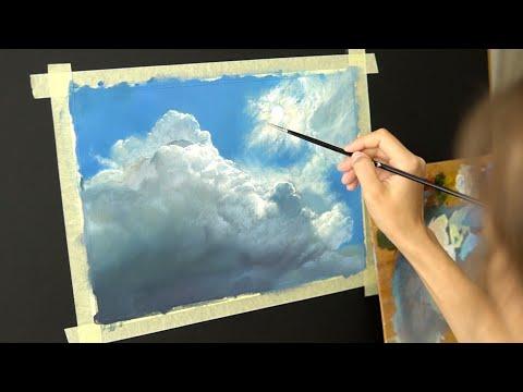 Масляная живопись для начинающих. Рисуем пейзаж  #4 Небо . Распаковка ! Art tutorial. Oil painting thumbnail