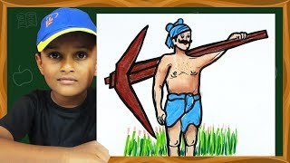 How to Draw Indian Farmer Drawing for Kids | Labor day drawing | GO School TV