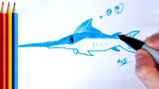 How to Draw Swordfish - Step by Step Tutorial For Kids