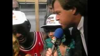 NBA Finals Chicago Bulls Champions for the First time Michael Jordan MVP Celebrates with Champagne
