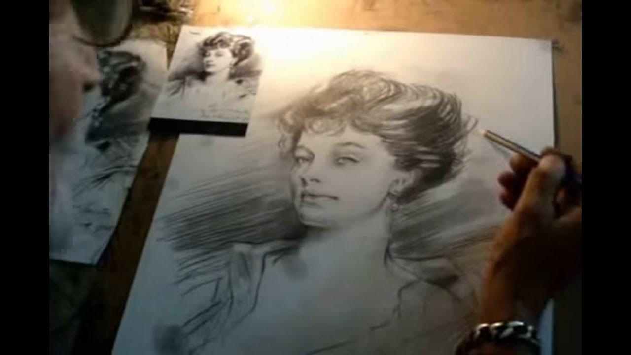 Ressam Ibrahim Ozanoğlu Canlı Karakalem Portre çizimi Youtube