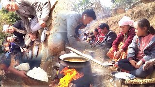 New Year Party in Village ||   HAPPY-HAPPY-HAPPY new year 2076 || Villagers Having Lunch in Group ||