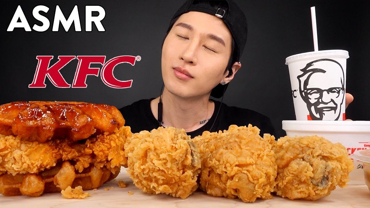 Asmr Kfc Chicken Waffles Sandwich Drumsticks No Talking Crunchy Eating Sounds Zach Choi Asmr