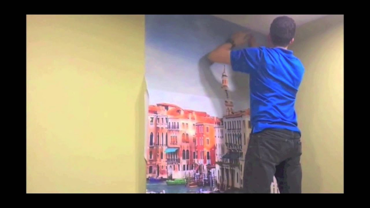 3D Wallpaper Murals - Installation On Wall - YouTube