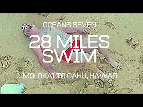 Oceans seven 28miles Molokai channel swim,kaiwi channel swimmer Adrian Sarchet,Molokai to Oahu swim