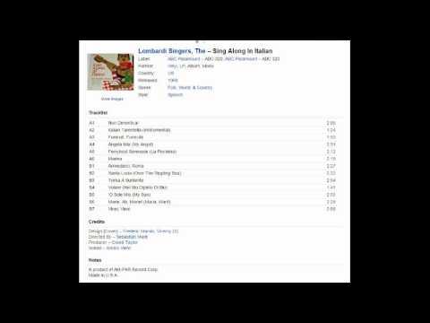 THE LOMBARDI SINGERS SING ALONG IN ITALIAN - LP ALBUM