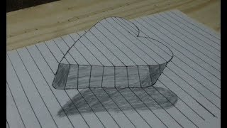 How to Draw A Floating Heart 3d  on line Paper trick art for kids