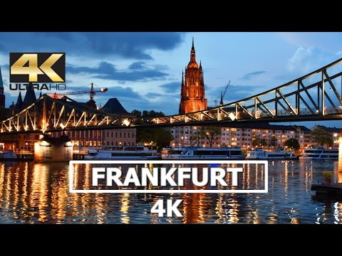 Frankfurt Am Main, Germany 4K Night City Views