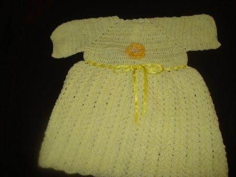 Vestido Tejido en Gancho Para Bebe Parte 1 de 2 - YouTube