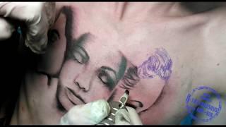 Процесс татуировки с женскими лицами и надписью  ч2  Тени в татуировке, подготовка эскиза