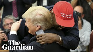 Kanye says 'I love this guy right here' as he walks over and gives Trump a hug