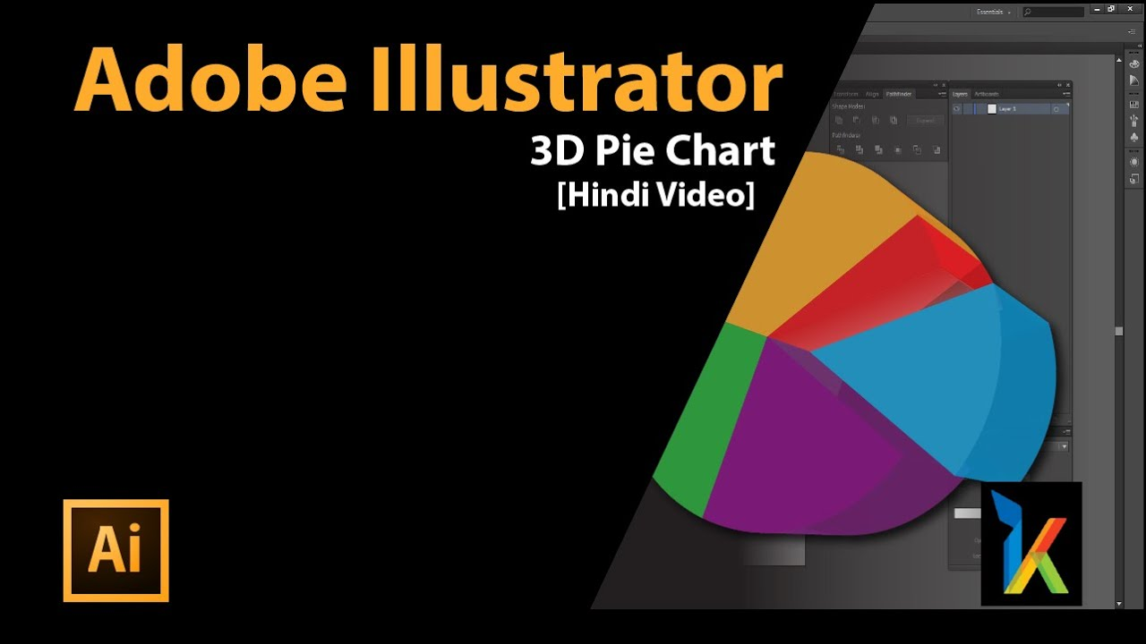How to draw a 3d pie chart in illustrator create beautiful 3d 3d pie chart in adobe illustrator in hindi youtube nvjuhfo Images