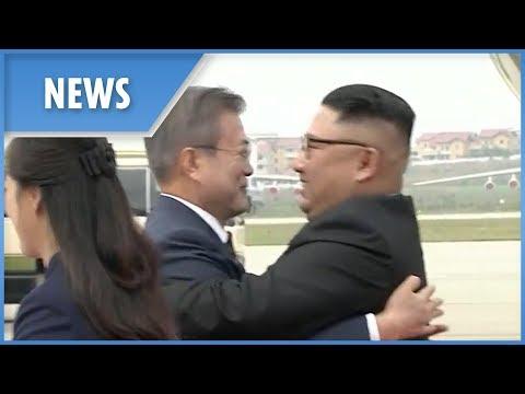 Kim Jong-un hugs Moon Jae-in for third summit