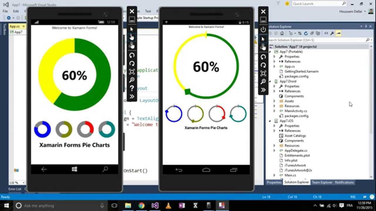 Xamarin forms with visual studio part pie charts custom controls youtube also rh
