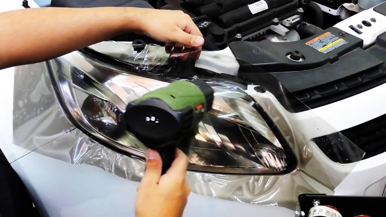 Install vinyl on headlight car instalaci n de vinilos en - Como pulir faros de coche ...