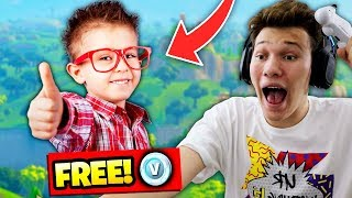GIVING LITTLE KID *FREE* V BUCKS FOR EVERY KILL! Fortnite Battle Royale (HAPPY)