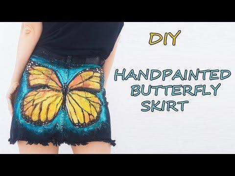 Painting butterfly on the skirt -DIY HANDPAINTED SKIRT- art clothing